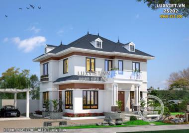 Mẫu thiết kế nhà vuông 2 tầng đơn giản 100m2 900 triệu – LV 25202