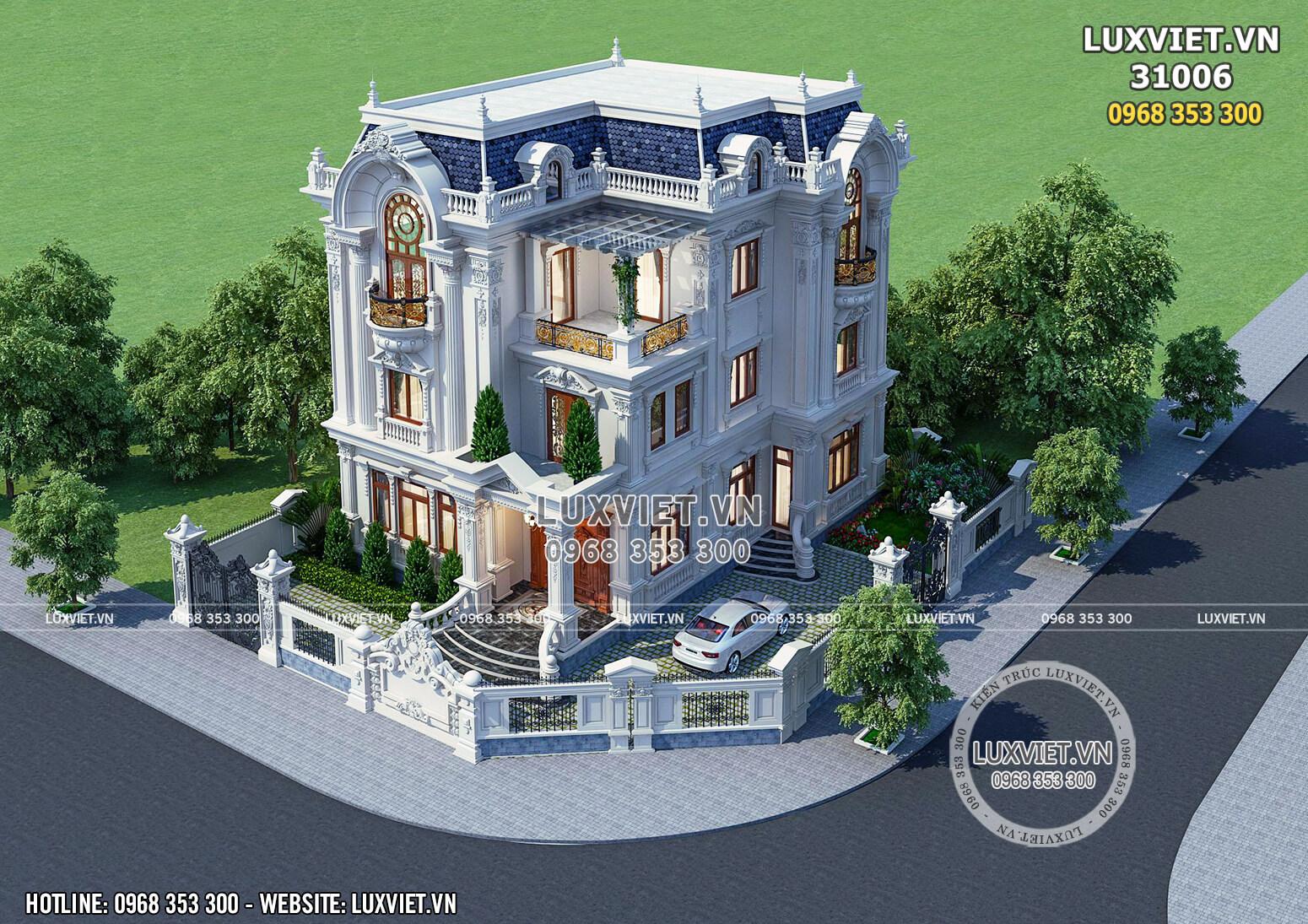 Toàn cảnh mẫu thiết kế biệt thự 3 tầng tân cổ điển đẹp tại Ninh Bình khi nhìn từ trên xuống.