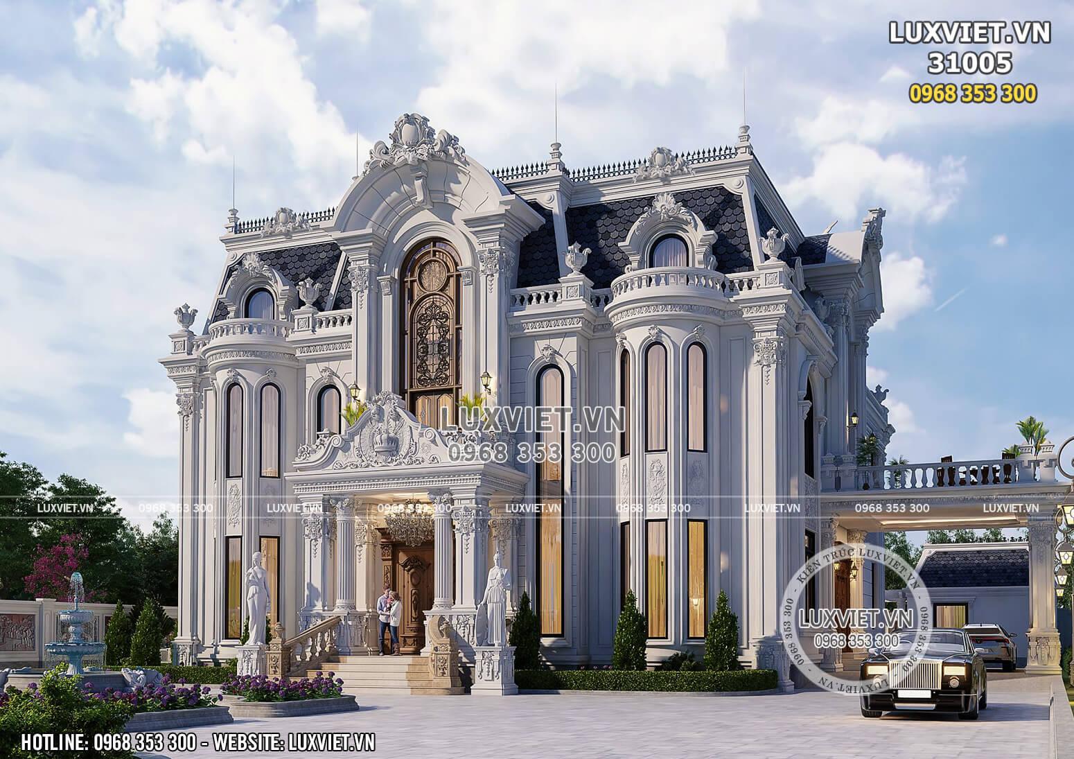Thiết kế dinh thự tân cổ điển 2 tầng 1 tum đẹp - LV 31005