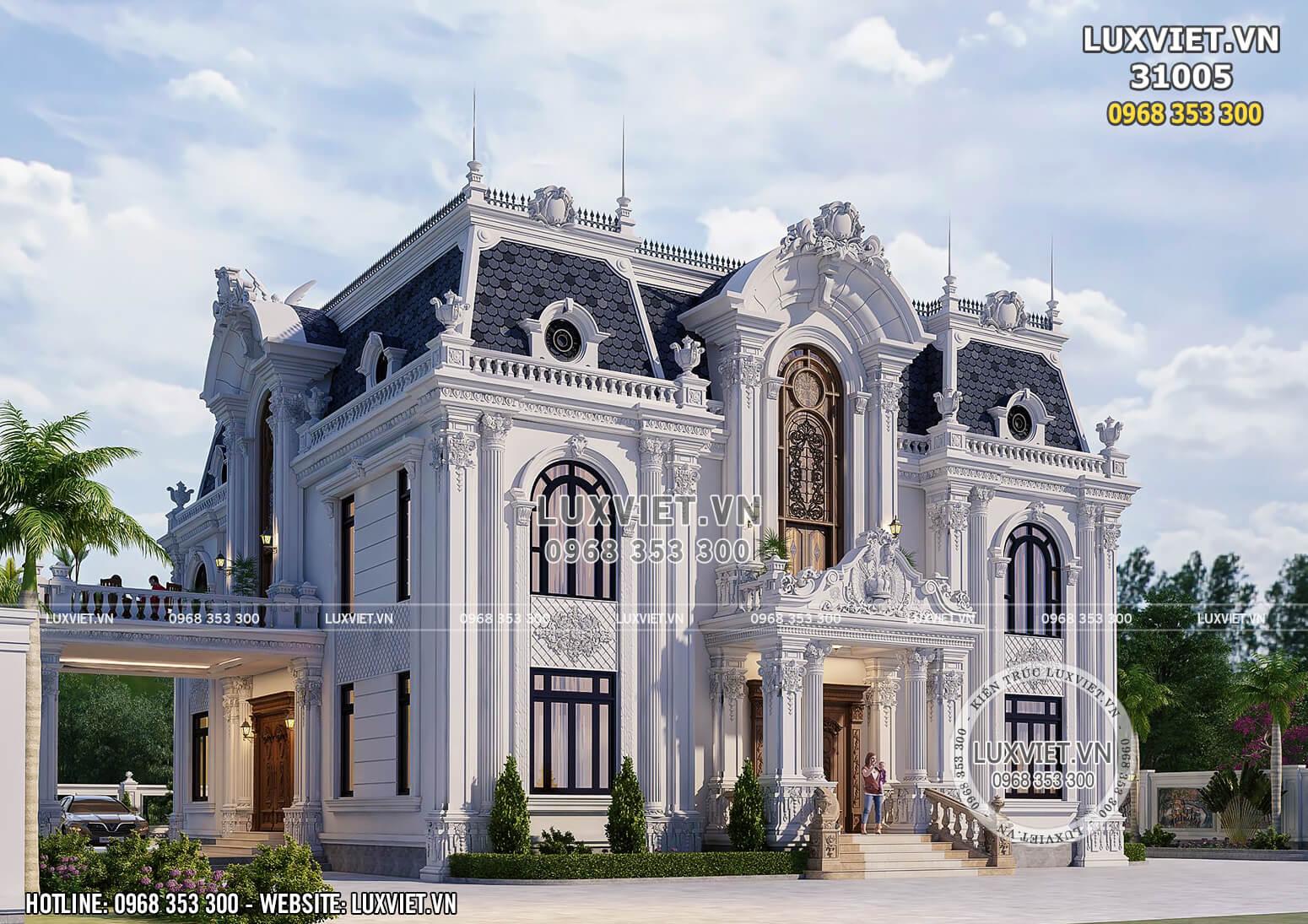 Một góc view của mẫu thiết kế biệt thự kiến trúc tân cổ điển sang trọng