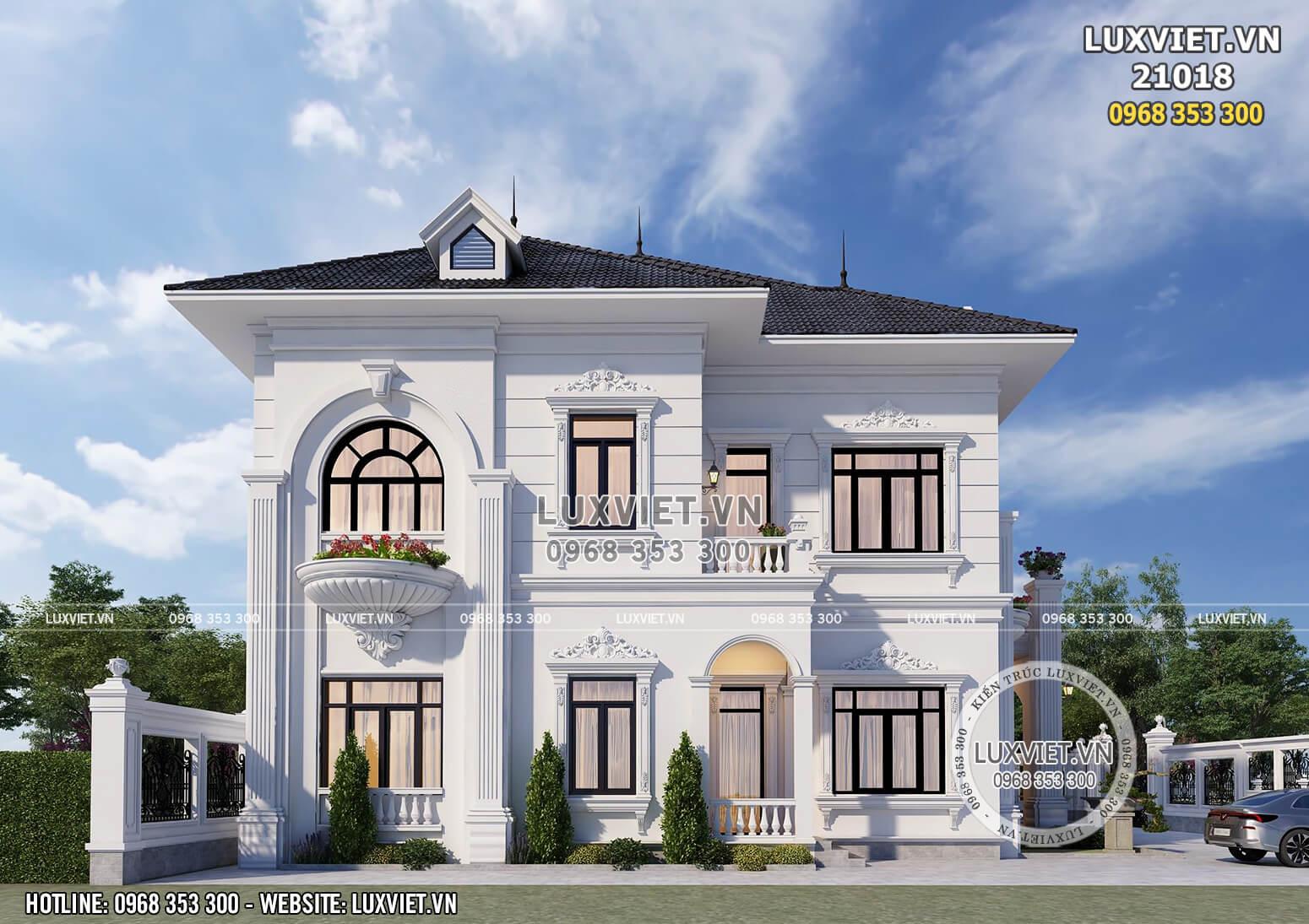 Mặt bên của mẫu nhà 2 tầng kiến trúc tân cổ điển