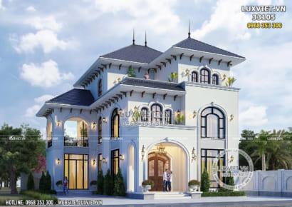 Hình ảnh: Kiến trúc tổng thể của mẫu biệt thự 3 tầng mái Thái tân cổ điển - LV 33105