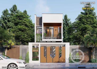 Không gian mặt tiền mẫu thiết kế biệt thự 2 tầng đơn giản mặt tiền 4m