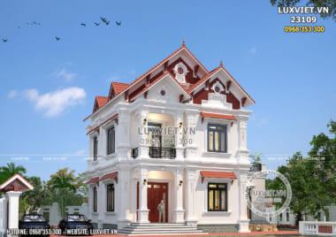 Mẫu nhà biệt thự 2 tầng mái thái tân cổ điển đẹp tại Hải Dương – LV 23109