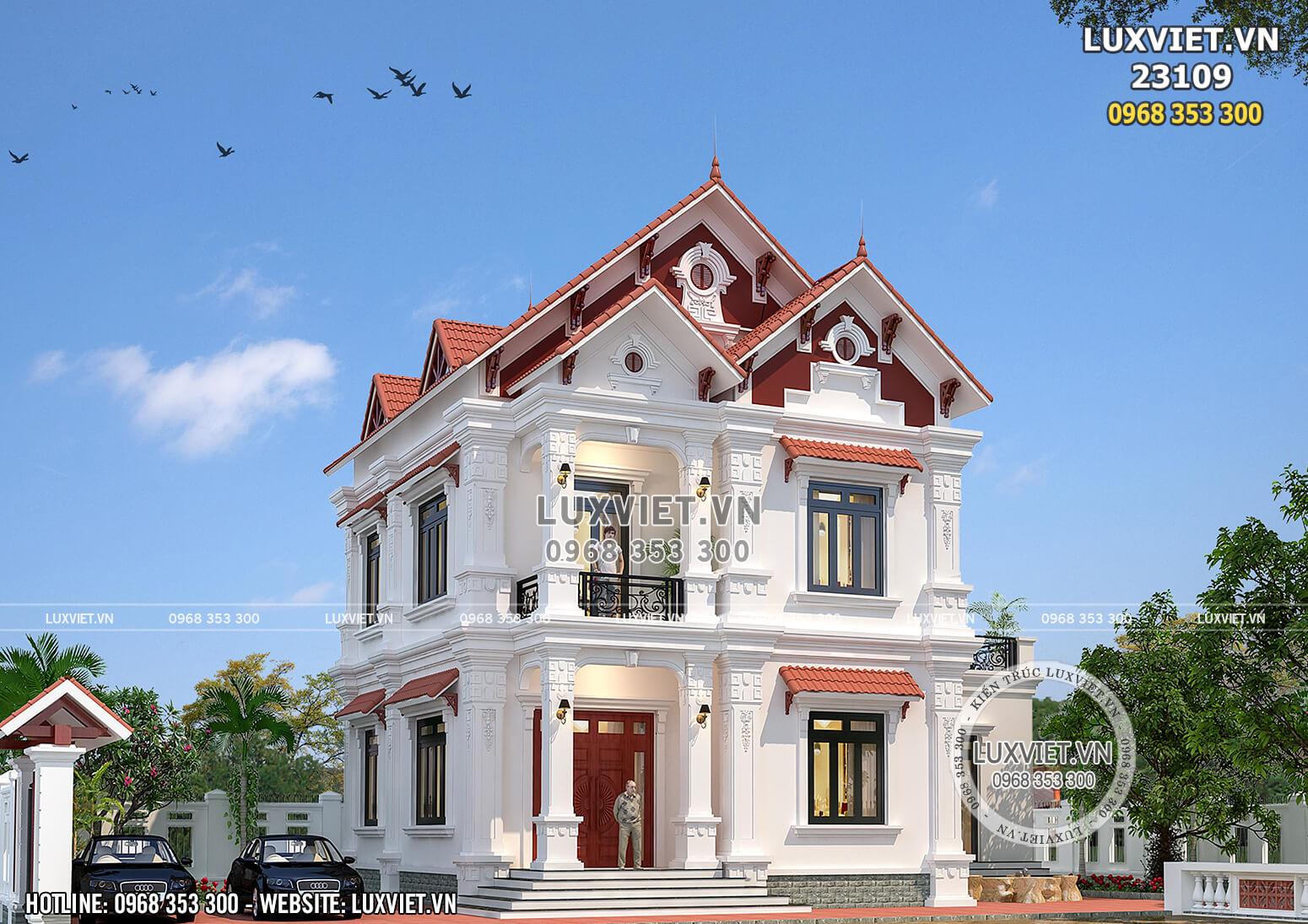 Mẫu nhà biệt thự 2 tầng mái thái tân cổ điển đẹp tại Hải Dương - LV 23109