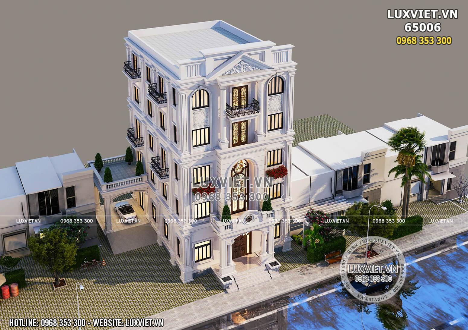 Mặt tiền mẫu nhà phố 5 tầng tân cổ điển mặt tiền 10m – LV 65006