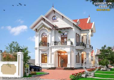Ngẩn ngơ với thiết kế biệt thự 2 tầng mái Thái đẹp – LV 23103
