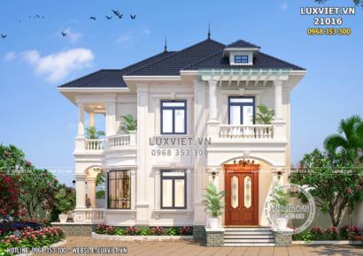 Phối cảnh 3D mặt tiền mẫu thiết kế biệt thự 2 tầng mái Thái