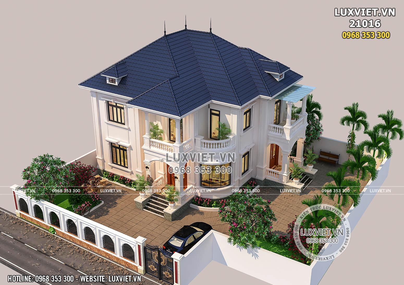 Mẫu thiết kế biệt thự 2 tầng mái Thái tân cổ điển đẹp - LV 21016 khi nhìn từ trên cao xuống