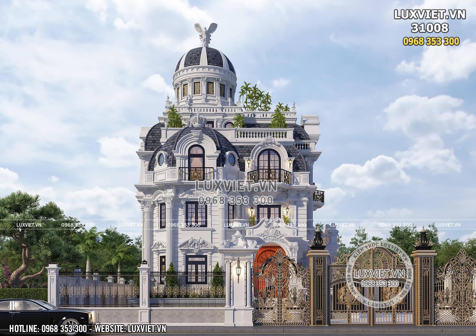 Toàn cảnh không gian mặt tiền mẫu thiết kế biệt thự tân cổ điển cầu kỳ, xa hoa tại Ninh Bình