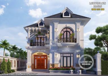 Thiết kế biệt thự mini 2 tầng tân cổ điển 100m2 đẹp tại Hưng Yên – LV 21026