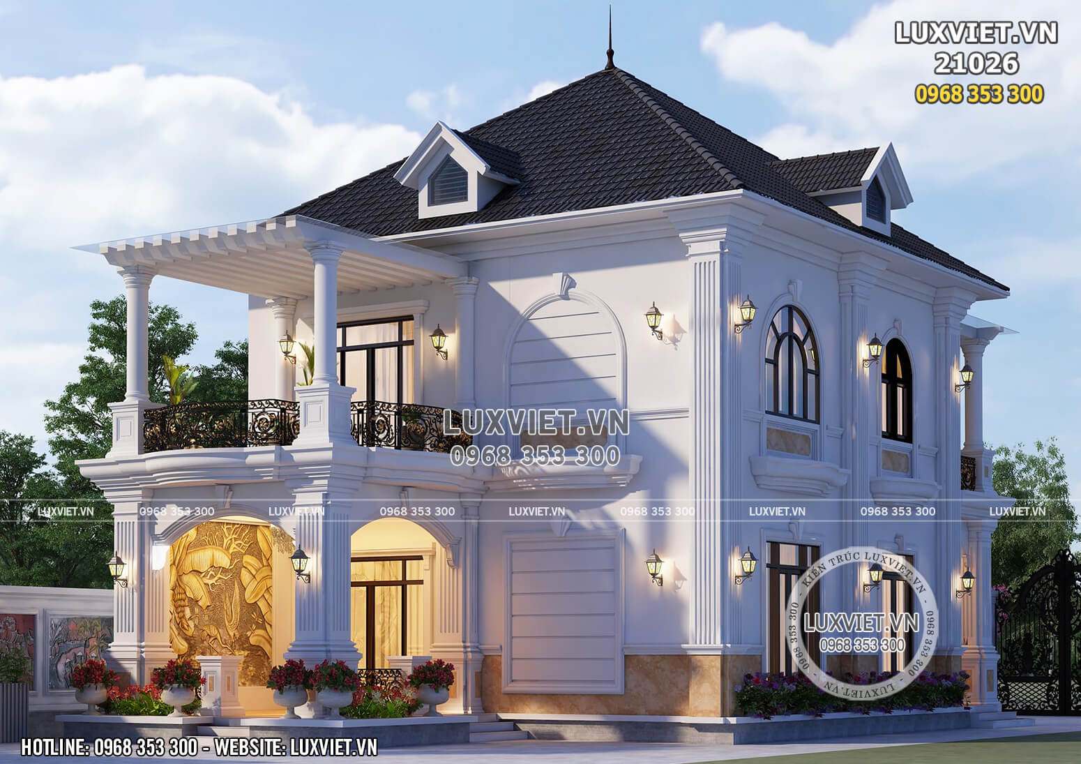 Không gian kiến trúc hoa lệ, bắt mắt và đẹp đến từng chi tiết nhỏ của mẫu thiết kế biệt thự 2 tầng tân cổ điển