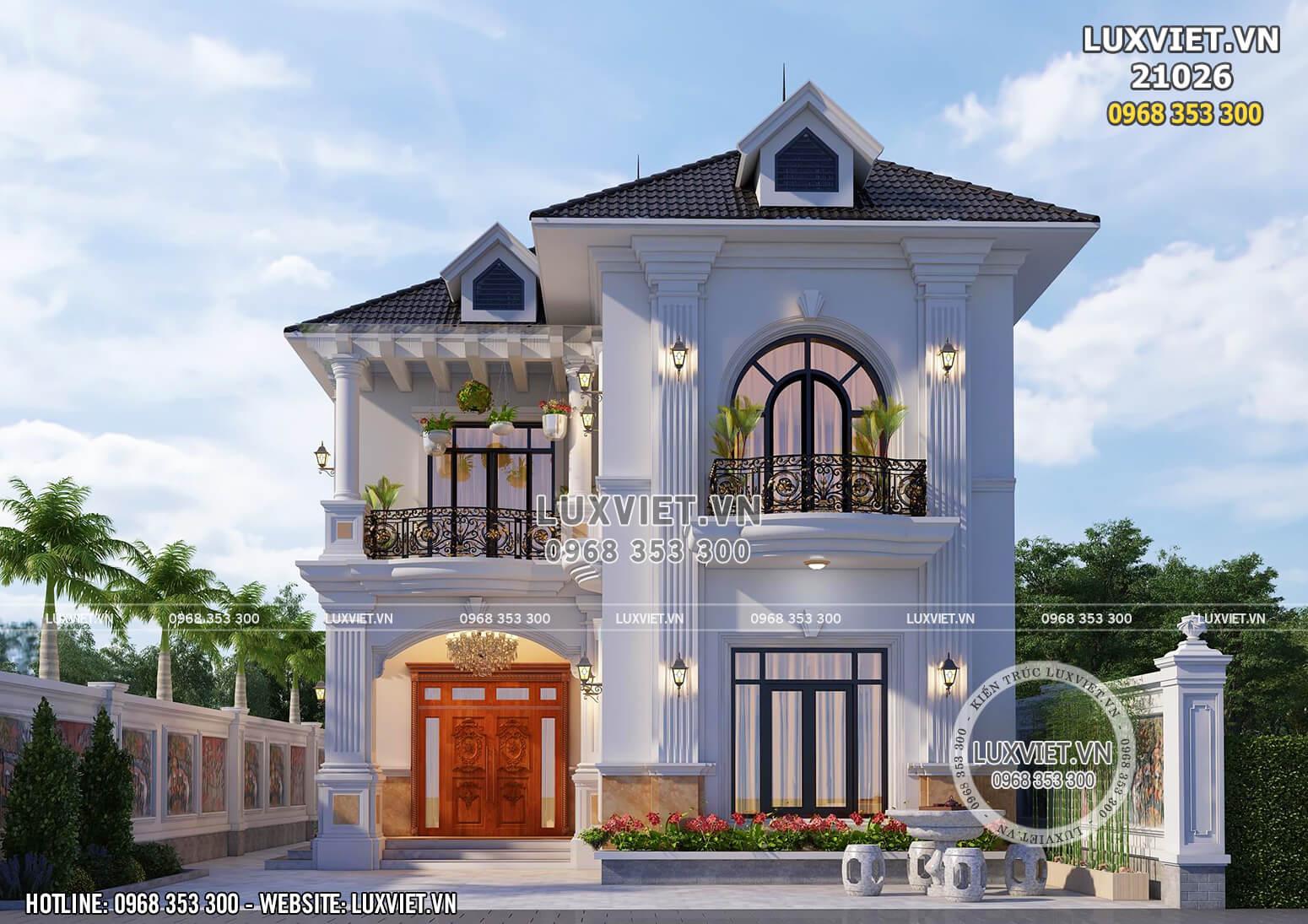 Mẫu thiết kế biệt thự mini 2 tầng tân cổ điển 100m2 đẹp tại Hưng Yên - LV 21026