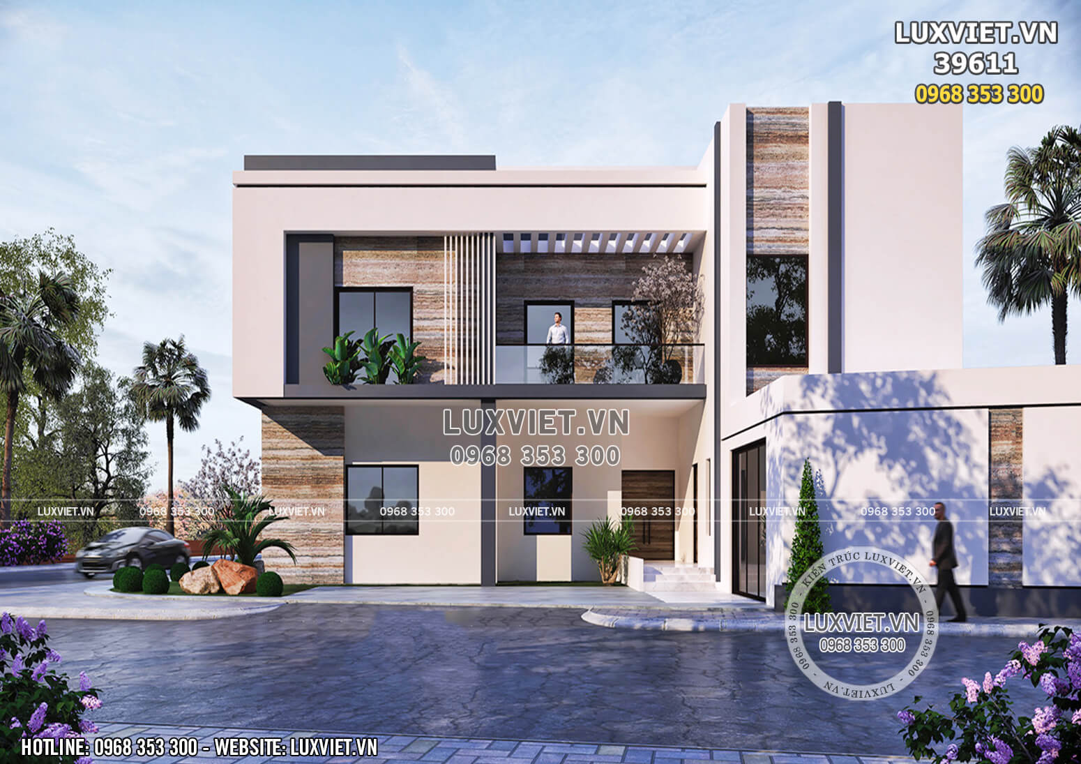 Không gian mặt tiền phối cảnh 3D mẫu thiết kế villa 3 tầng hiện đại