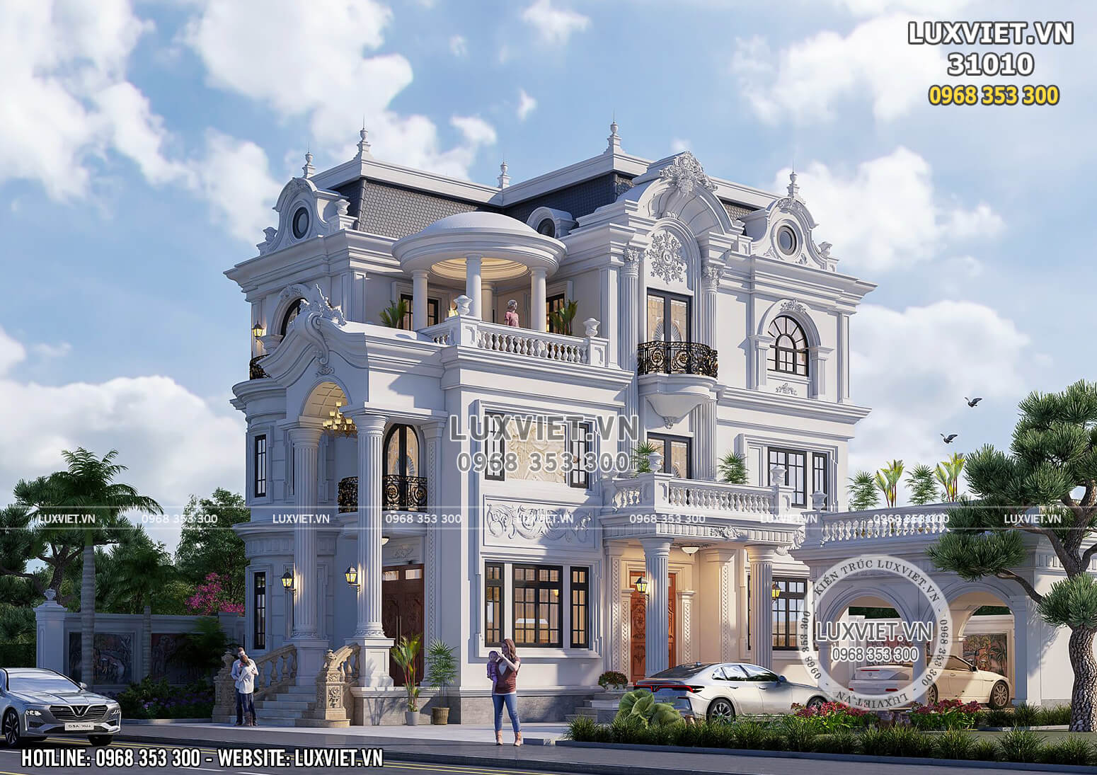 Mặt bên của ngôi biệt thự nổi bật bởi đường nét kiến trúc tinh tế