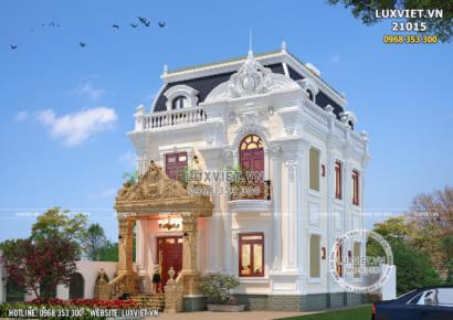 Thiết kế biệt thự tân cổ điển 2 tầng 1 tum mặt tiền 8m - LV 21015