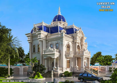 Thiết kế dinh thự lâu đài 3 tầng tân cổ điển đẹp - LV 36120