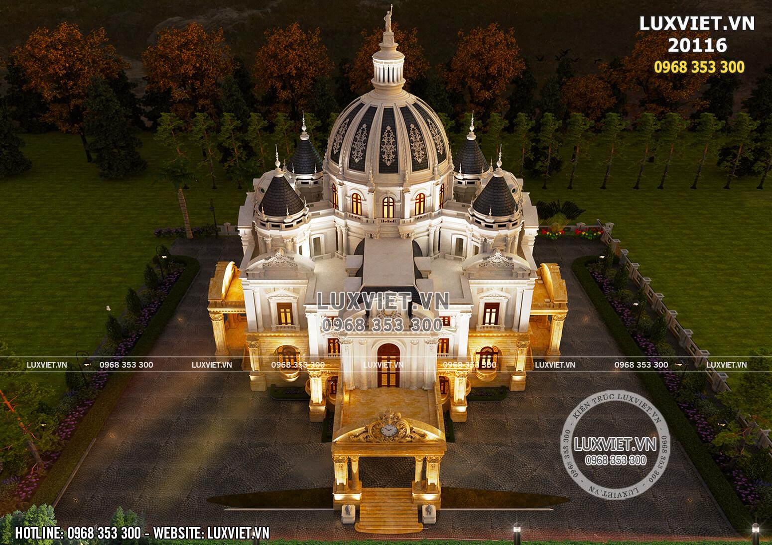 Toàn cảnh mẫu thiết kế dinh thự lâu đài kiến trúc tân cổ điển đẹp khi nhìn từ trên cao xuống