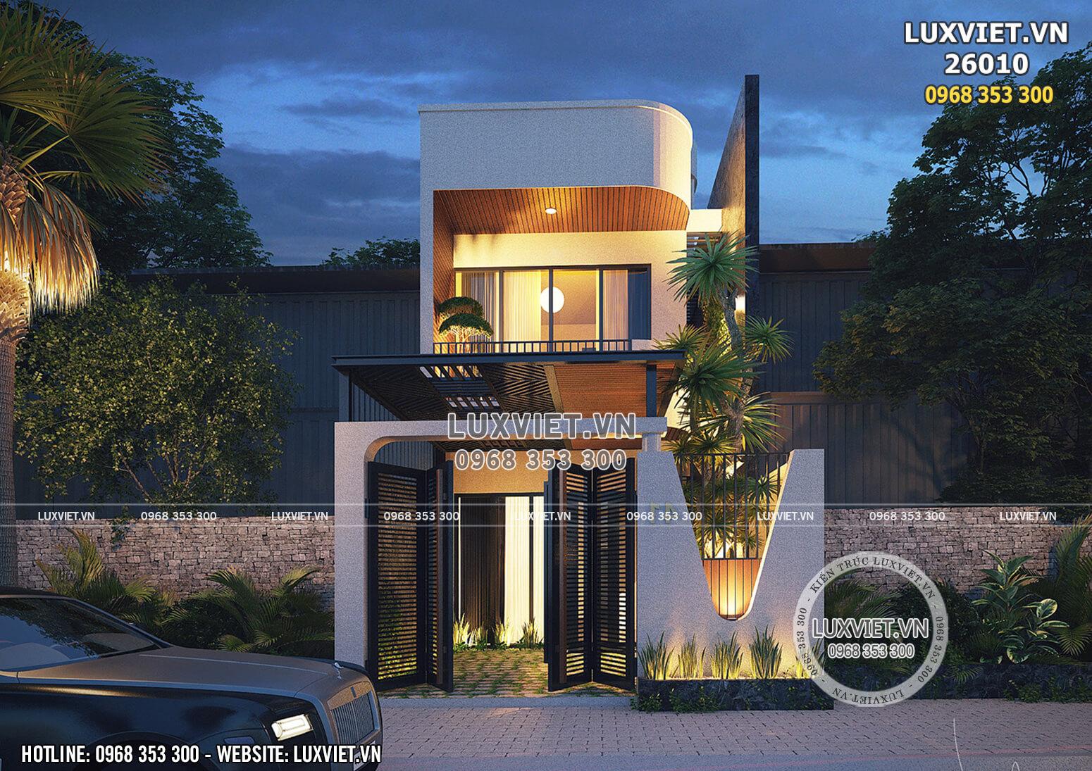 Hình ảnh: Mẫu nhà 2 tầng mặt tiền 4m đẹp - LV 26010