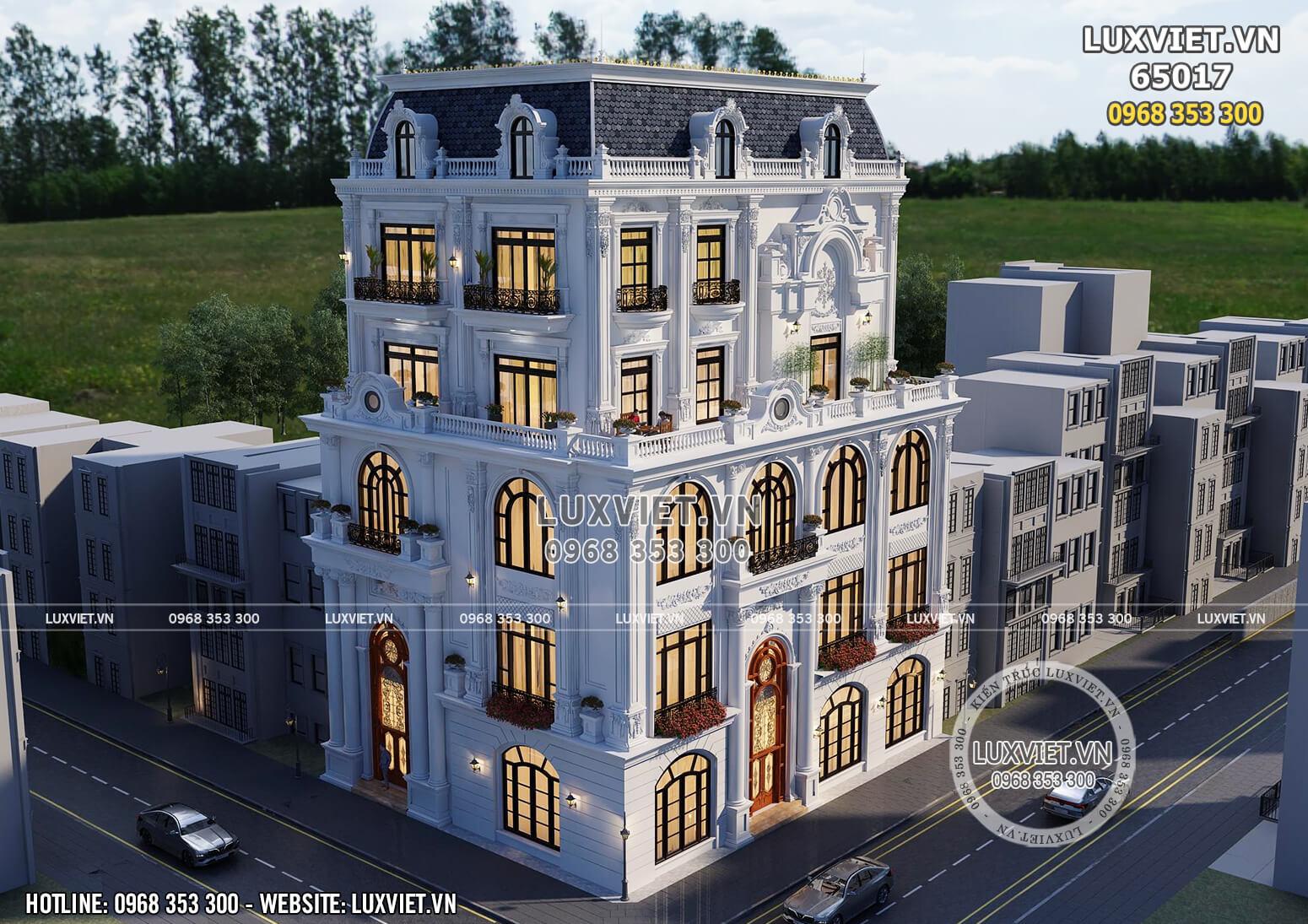 Mẫu thiết kế tòa nhà văn phòng kết hợp kinh doanh nổi bật với 2 mặt tiền