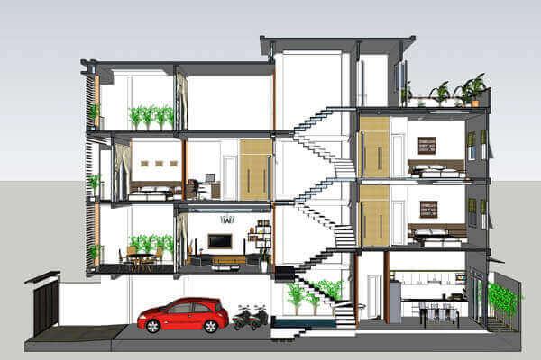 Kiến trúc thiết kế nhà ống lệch tầng
