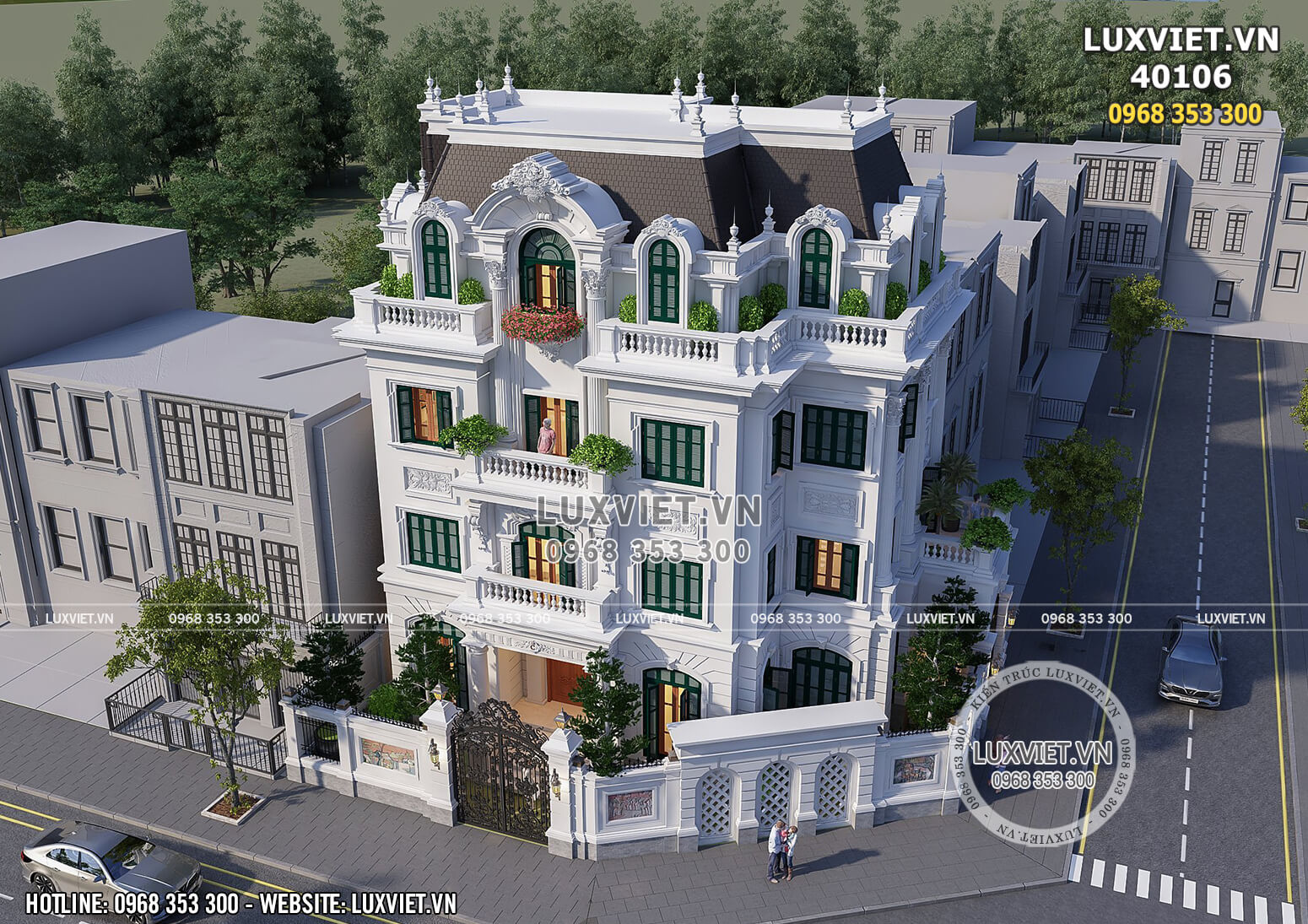 Toàn cảnh mẫu thiết kế biệt thự tân cổ điển 4 tầng kiêu sa, lộng lẫy giữa lòng Hà Nội