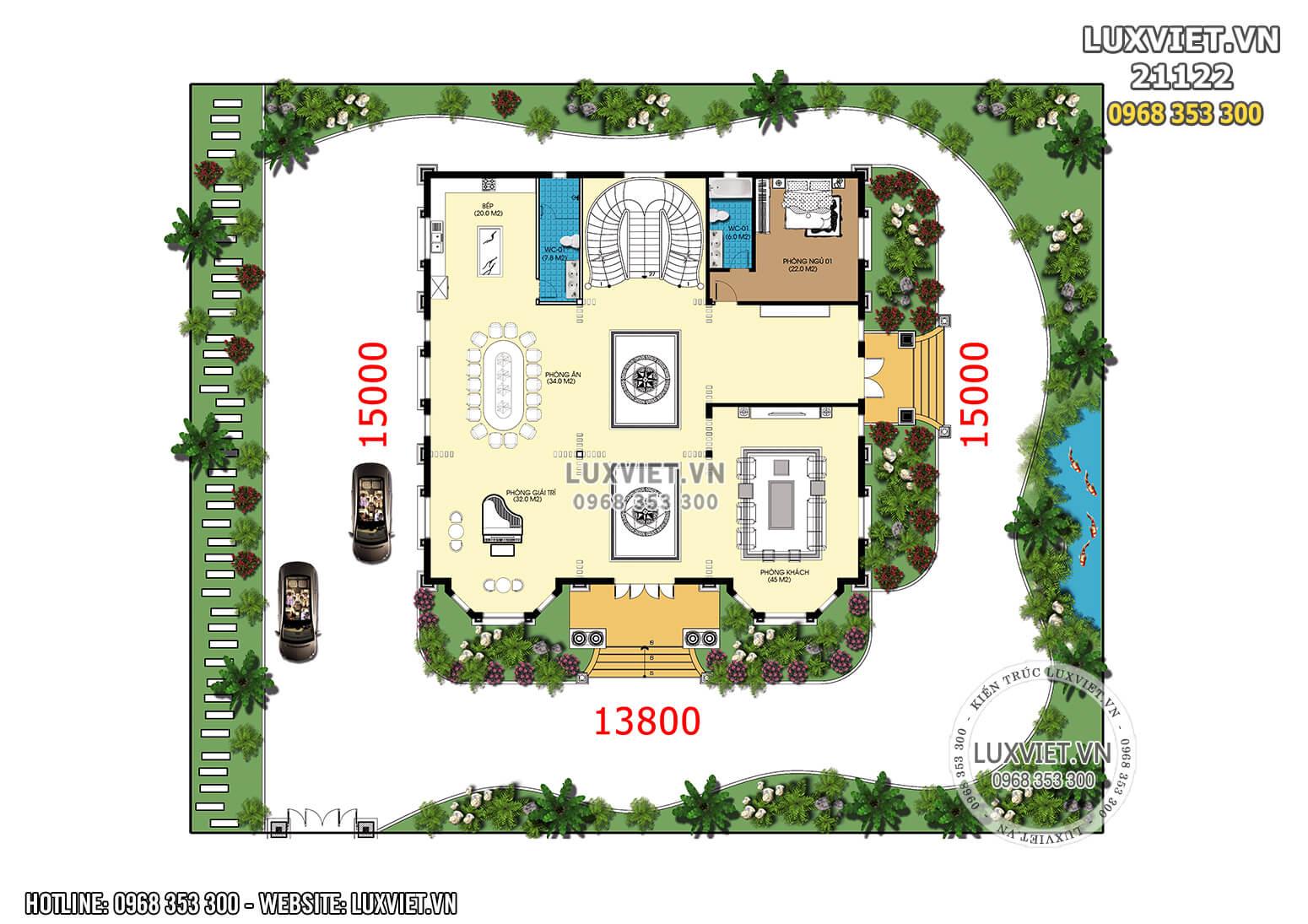 Mặt bằng bố trí công năng biệt thự 2 tầng phong cách tân cổ điển - LV 21122
