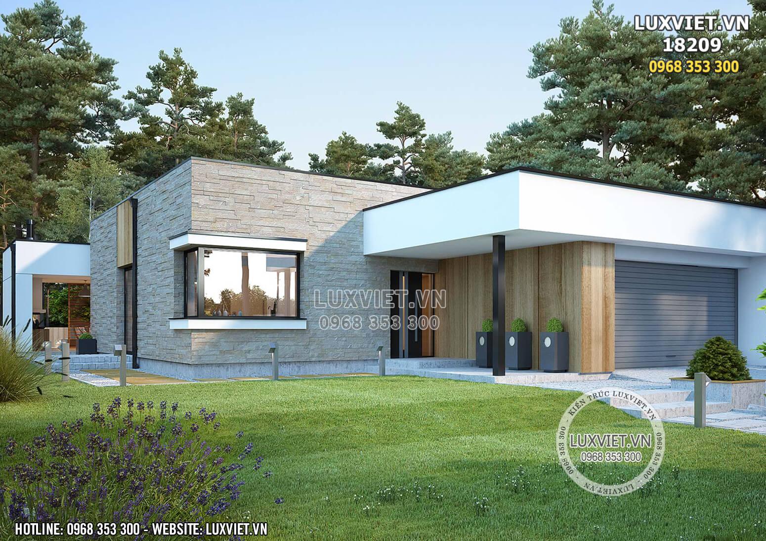 Hình ảnh: Không gian xanh được kết hợp hài hòa với mẫu nhà hiện đại 1 tầng