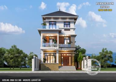 Mẫu nhà biệt thự 3 tầng mái Thái mặt tiền 7m – LV 35210