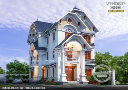 Hình ảnh: Không gian mặt tiền của mẫu nhà biệt thự 3 tầng mái Thái - LV 34330