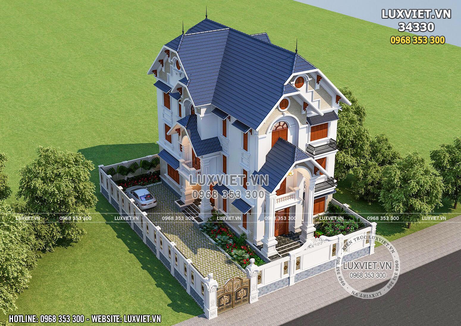 Hình ảnh: Góc nhìn tổng thể kiến trúc hoàn mỹ của mẫu nhà biệt thự 3 tầng mái Thái