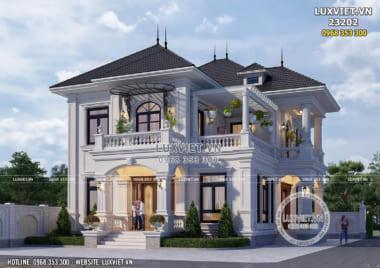 Mẫu thiết kế biệt thự 2 tầng mái Nhật tân cổ điển tại Bắc Ninh – LV 23202