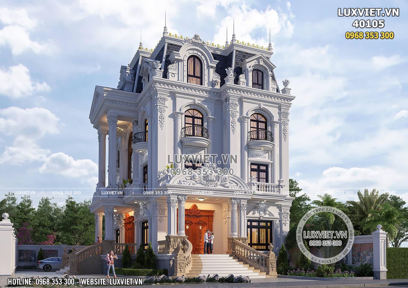 Phối cảnh 3D ngoại thất mẫu thiết kế biệt thự 3 tầng tân cổ điển đẹp