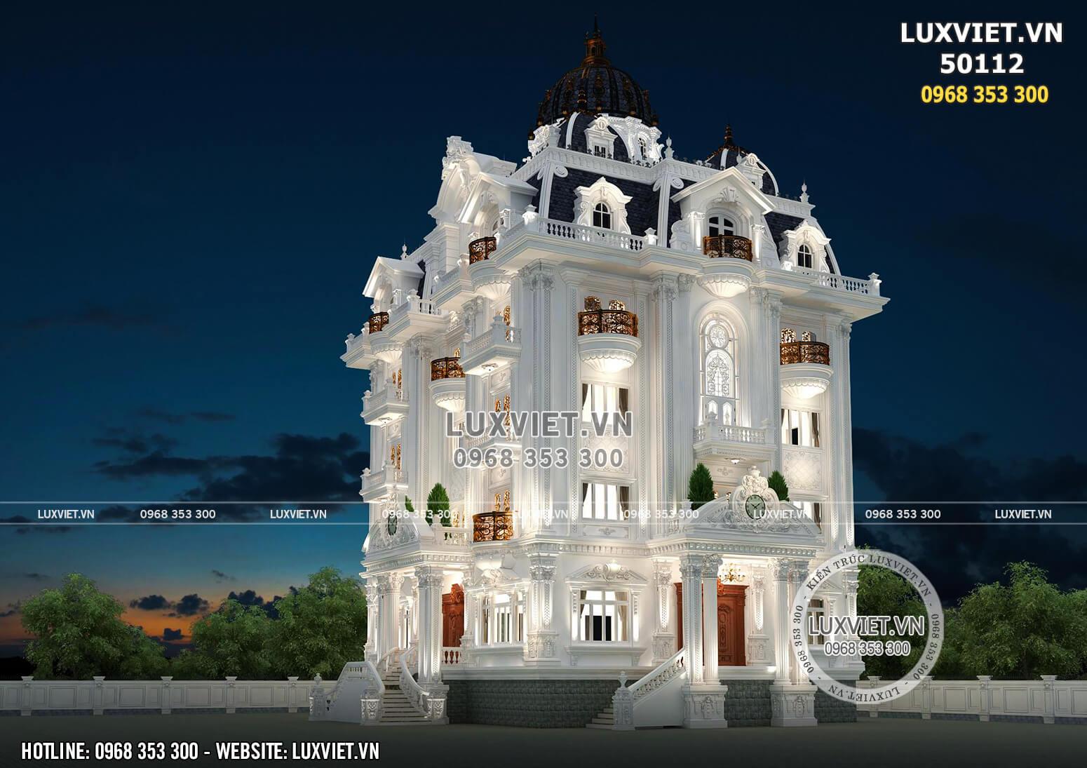 Phối cảnh 3D ngoại thất đẹp đến từng chi tiết nhỏ mẫu thiết kế biệt thự kiểu lâu đài 5 tầng tân cổ điển