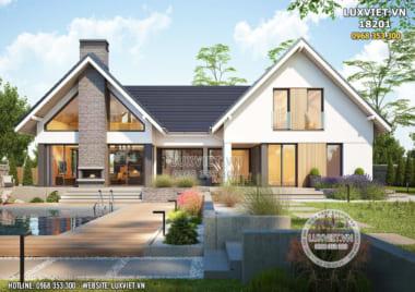 Thiết kế nhà 1 tầng cấp 4 đẹp hiện đại có gác lửng – LV 18201
