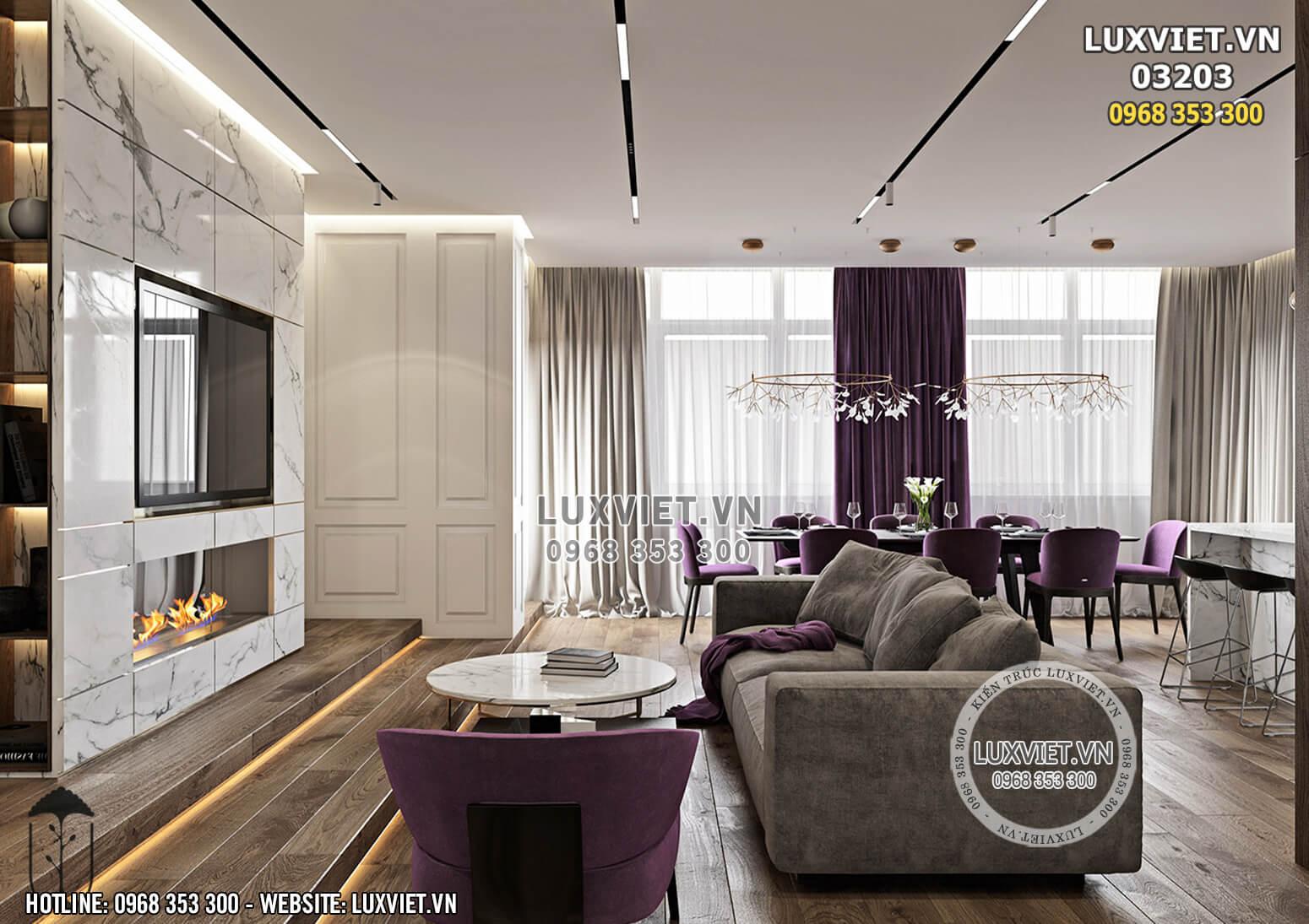 Hình ảnh: Toàn cảnh phòng khách - bếp của chung cư hiện đại - Lv 03203
