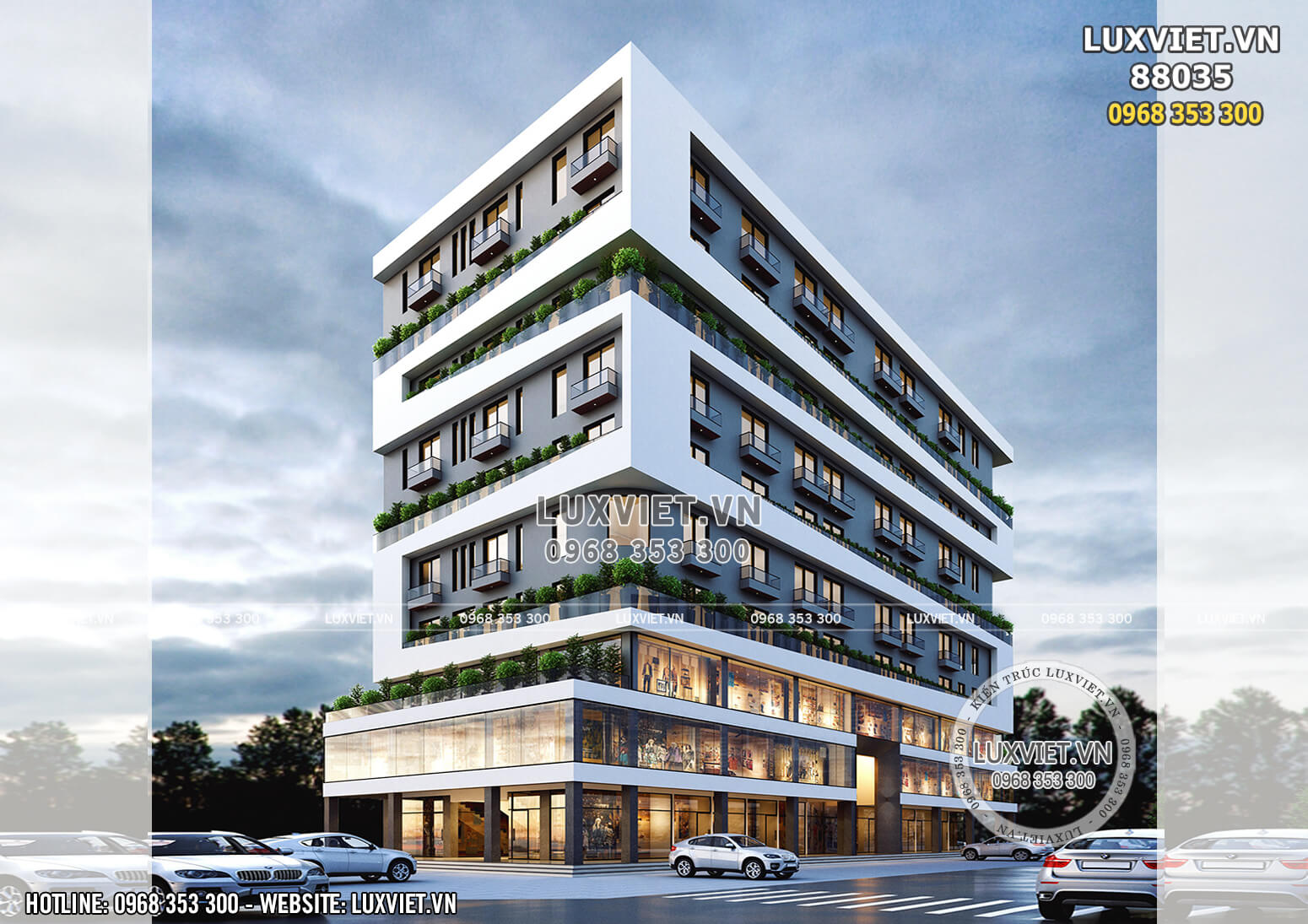 Hình ảnh: Thiết kế tổ hợp văn phòng - khách sạn đẹp - LV 88035