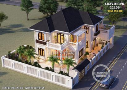 Hình ảnh: Thiết kế nhà 2 tầng tân cổ điển mái Nhật đẳng cấp - LV 22106