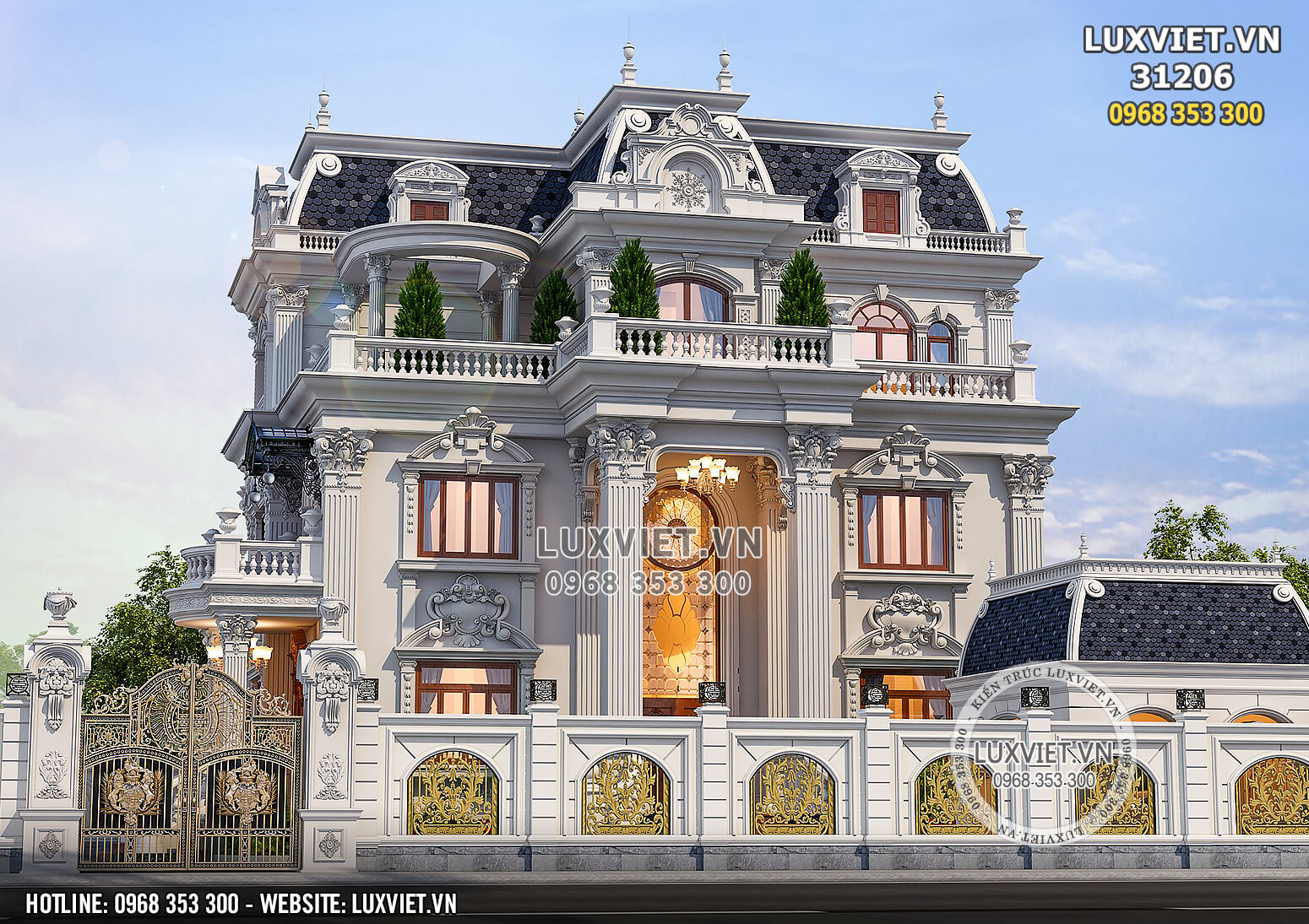 Không gian mặt tiền mẫu thiết kế dinh thự lâu đài 3 tầng tân cổ điển đẹp