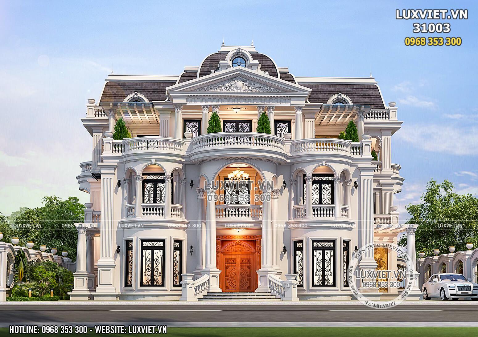 Hình ảnh: Không gian mặt tiền của mẫu dinh thự tân cổ điển đẹp 3 tầng tại Vĩnh Long - LV 31003