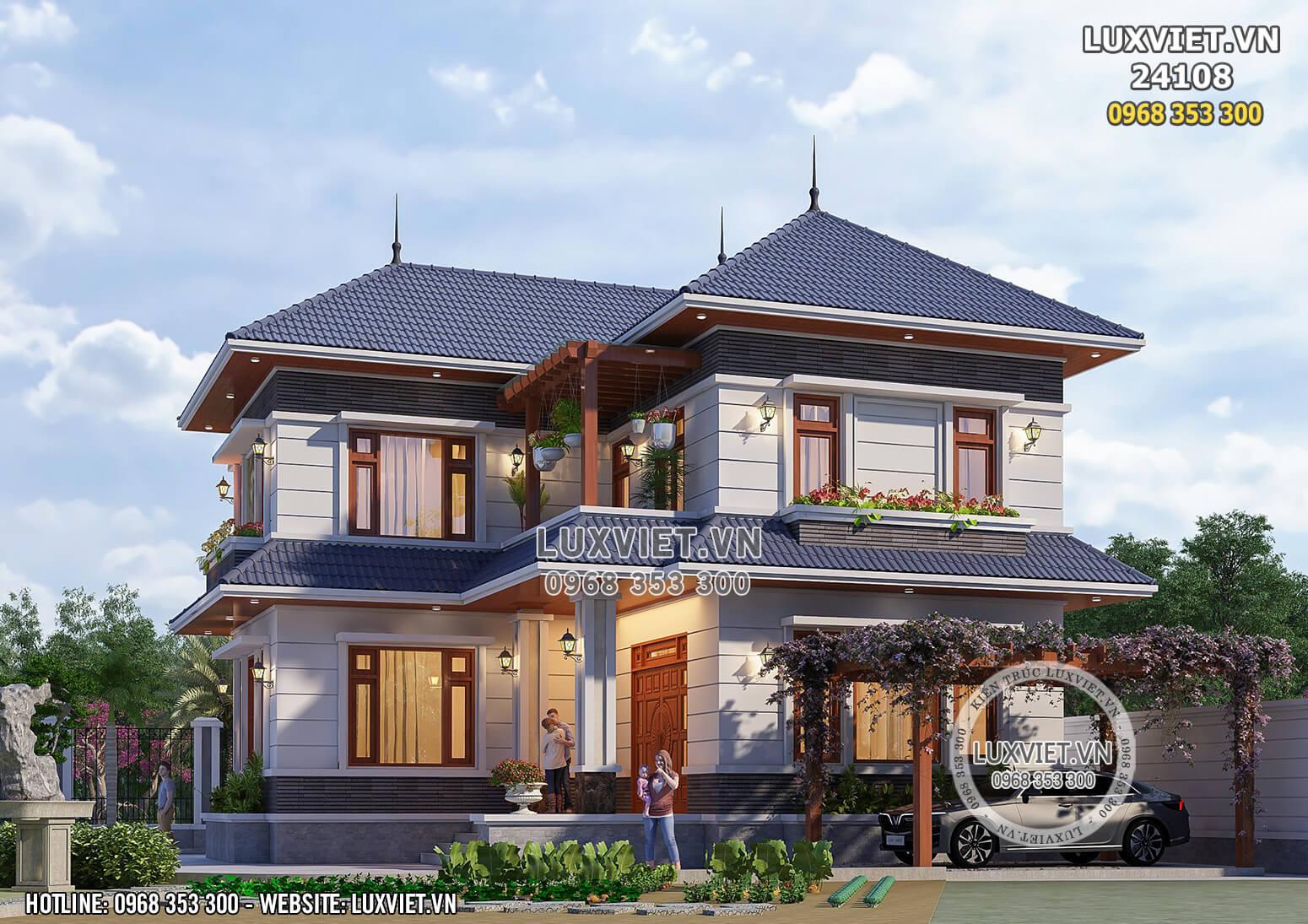 Hình ảnh: Nhà 2 tầng mái Thái hiện đại đẹp - LV 24108
