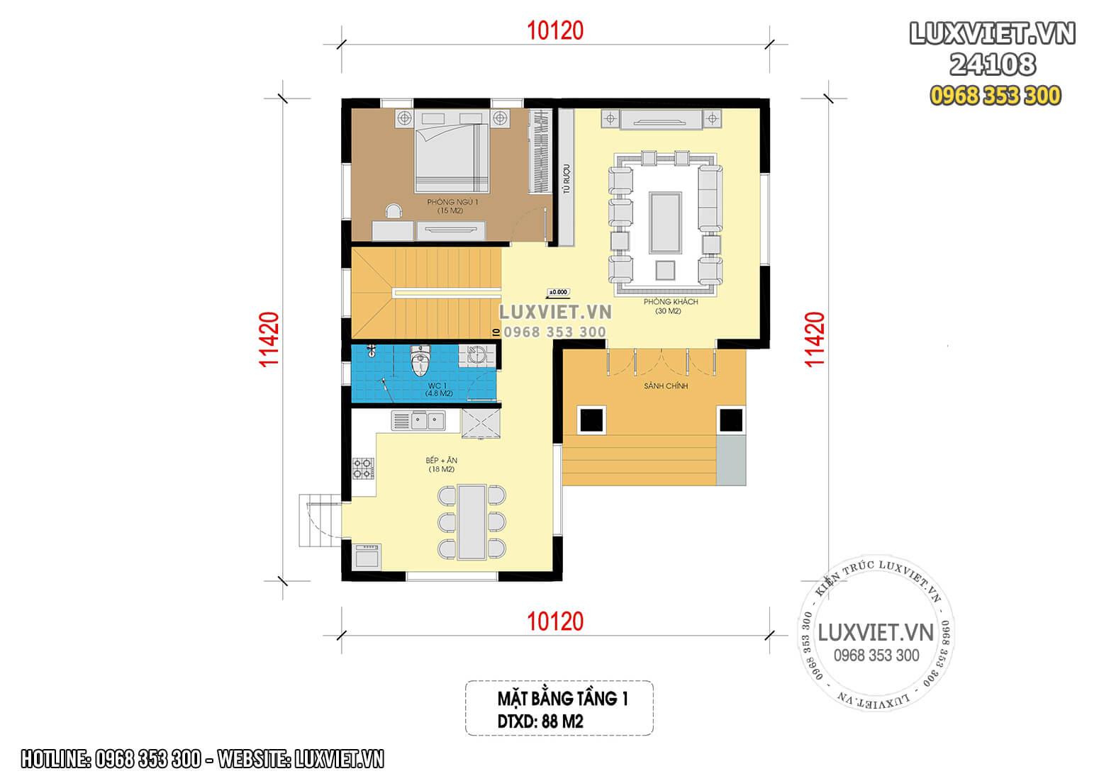 Hình ảnh: Mặt bằng công năng tầng 1 nhà 2 tầng 88m2 - LV 24108