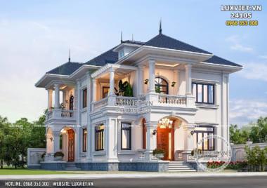 Mẫu nhà biệt thự mái Nhật 2 tầng đẹp 4 phòng ngủ – Mã số: LV 24105