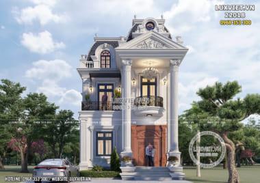 Mẫu nhà biệt thự 2 tầng tân cổ điển mặt tiền 8m mái Mansard – LV 22018
