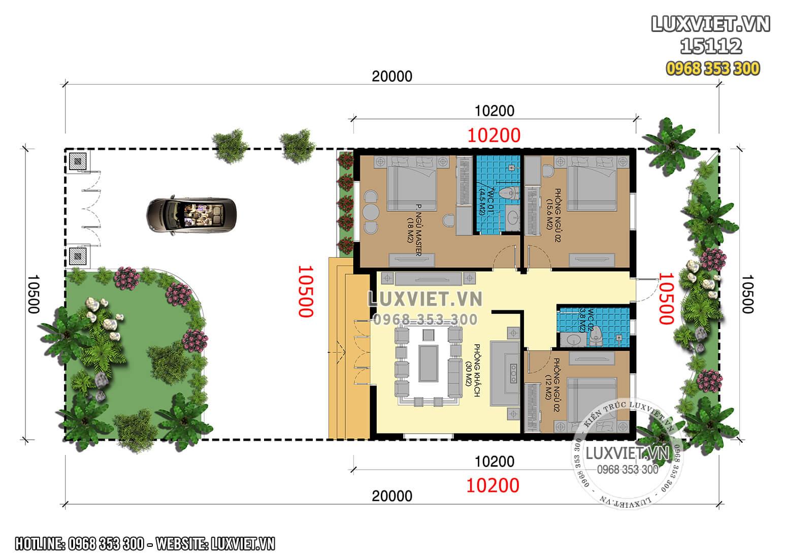 Hình ảnh: Phương án mặt bằng công năng nhà 1 tầng hiện đại - LV 15112