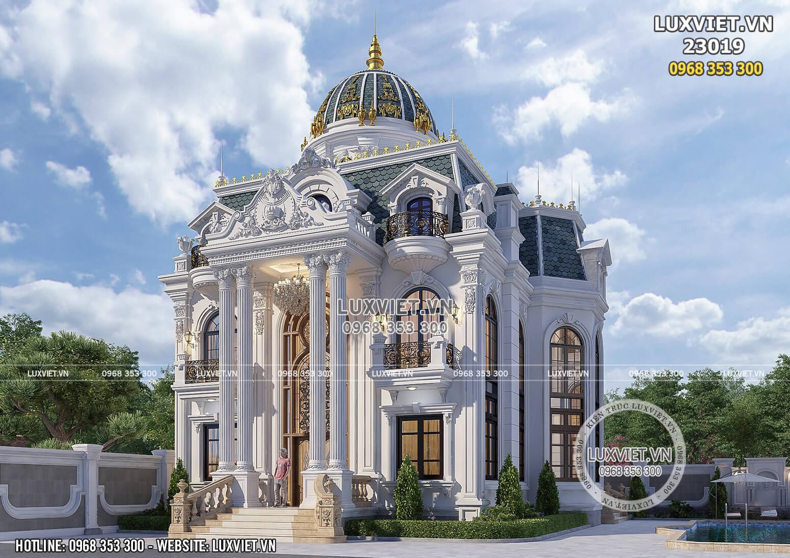 Hình ảnh: Thiết kế dinh thự tân cổ điển 2 tầng 1 tum đẹp hoàn mỹ - LV 23019