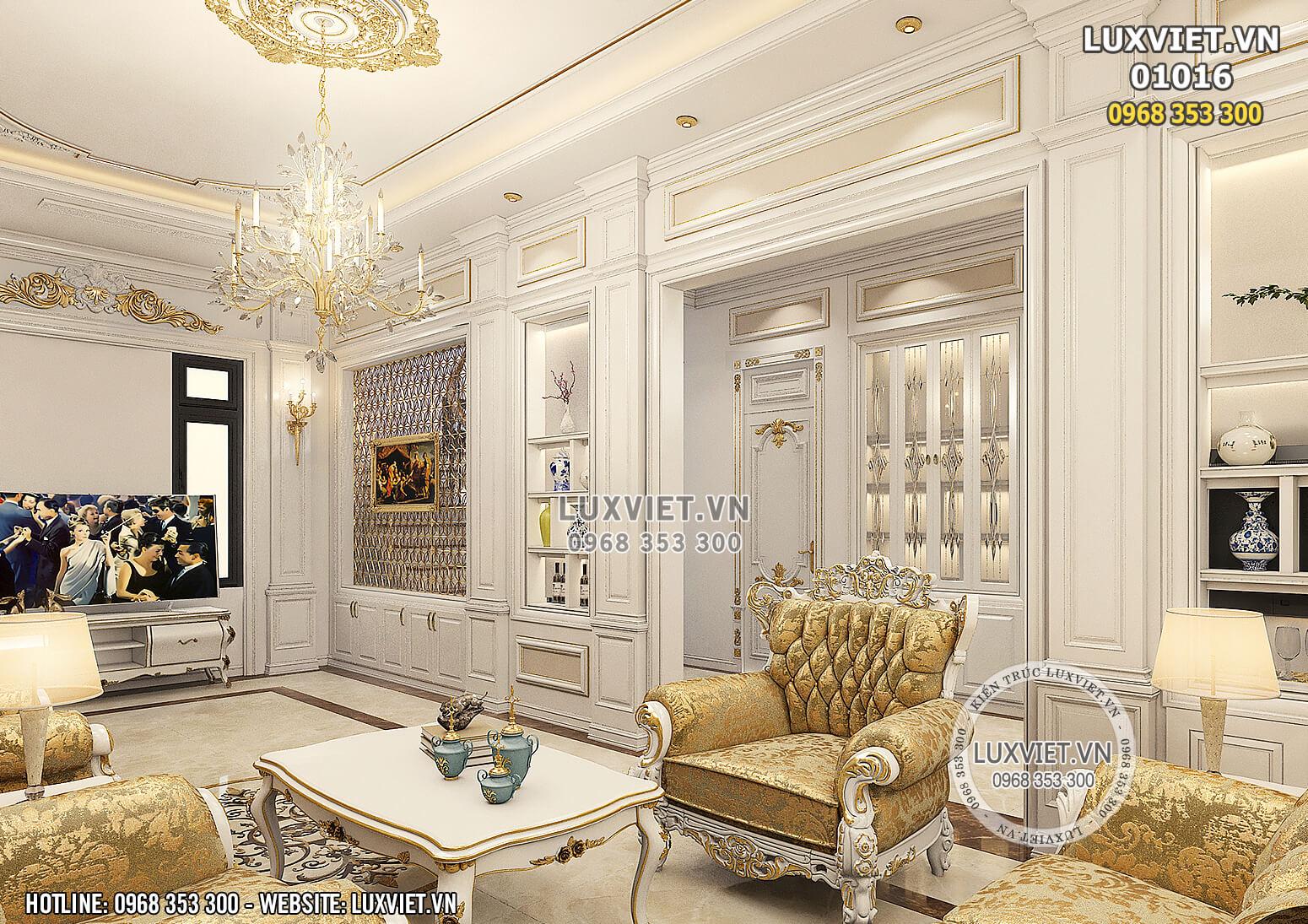 Hình ảnh: Không gian phòng khách của mẫu thiết kế nội thất tân cổ điển 1