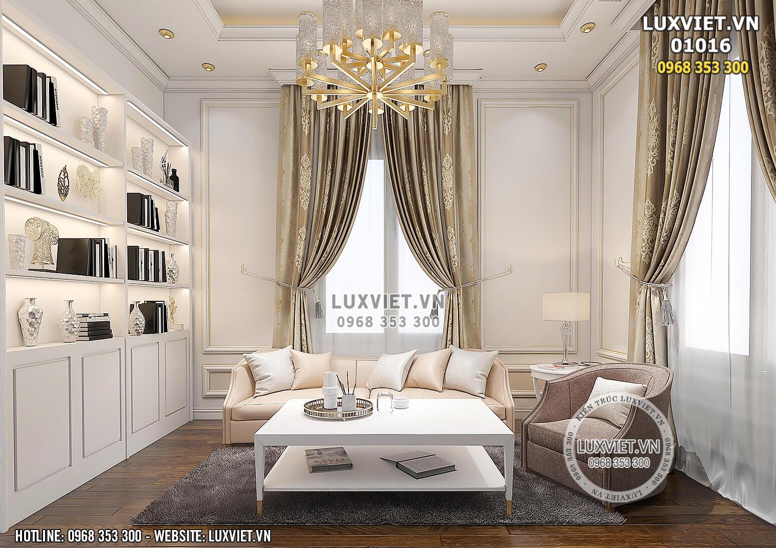 Hình ảnh: Không gian khu vực phòng sinh hoạt chung của mẫu thiết kế nội thất tân cổ điển đẹp 1