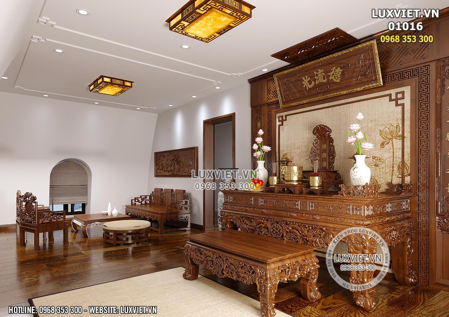 Hình ảnh: Không gian khu vực phòng thờ của mẫu thiết kế nội thất tân cổ điển đẹp 1