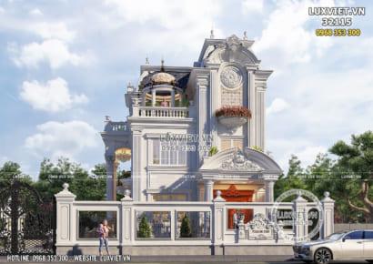 Không gian mặt tiền phối cảnh mẫu thiết kế biệt thự 3 tầng kiến trúc Pháp